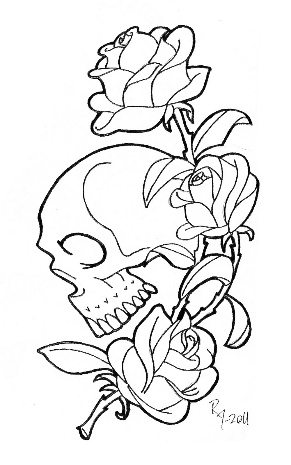 Free Rose Coloring Pages Skull With Roses Coloring Pages At Getdrawings Free For