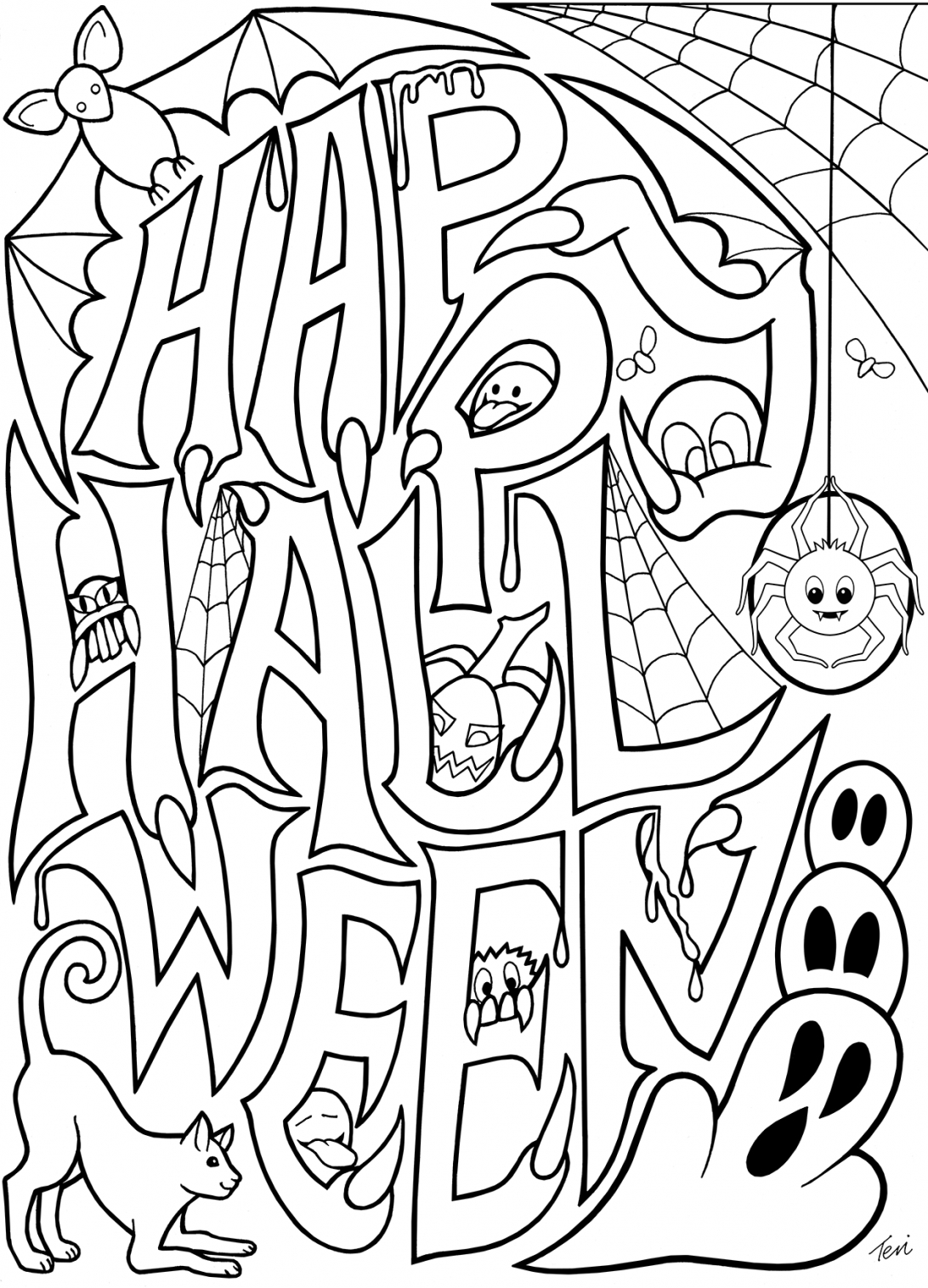Free Scary Halloween Coloring Pages Coloring Book Halloween Coloring Pages For Toddlers Spiders To