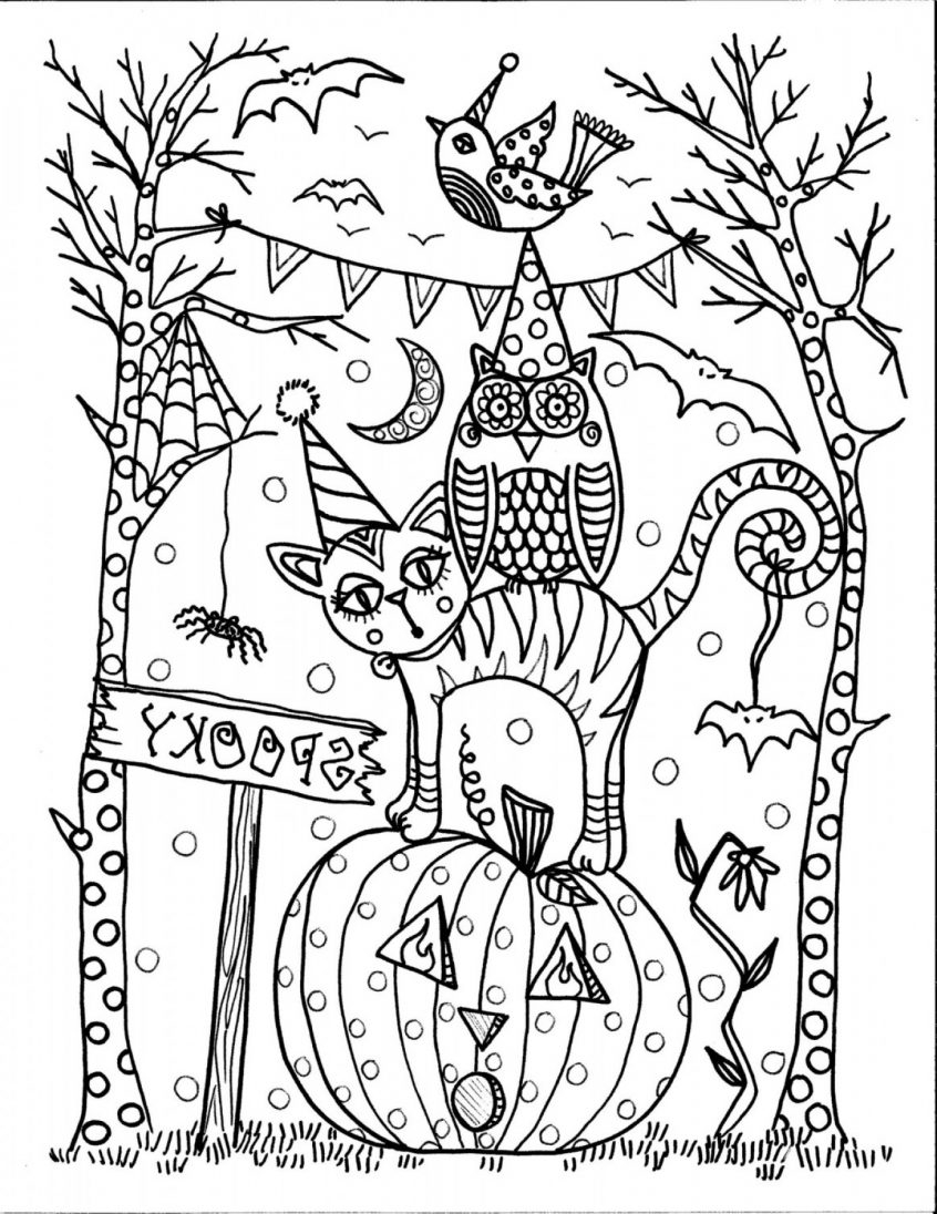Free Scary Halloween Coloring Pages Coloring Halloween Coloring Pages Adults Home On Regarding For