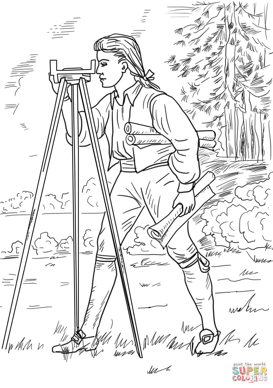 George Washington Carver Coloring Page Young George Washington Surveyor And Mapmaker Coloring Page Free