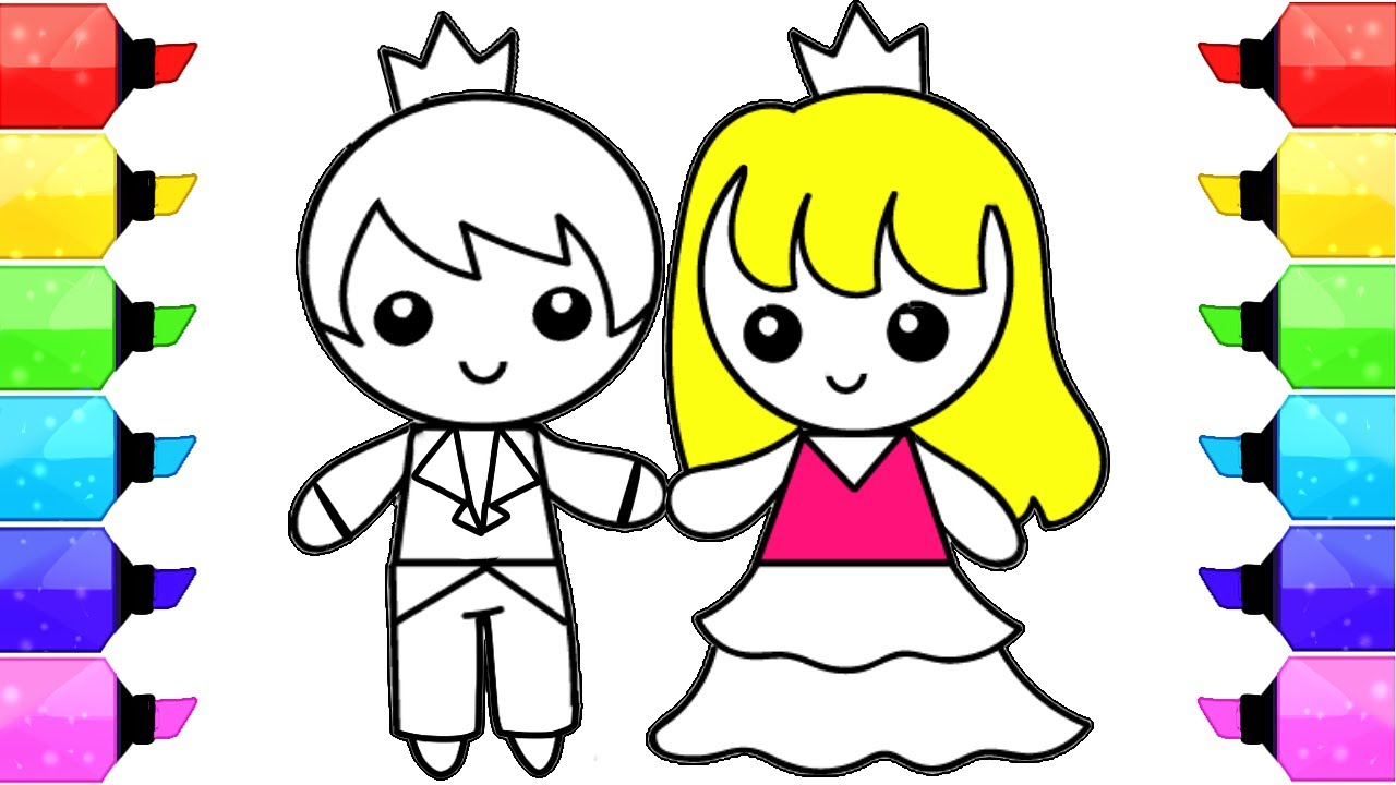 Girl Color Pages Boy And Girl Coloring Pages How To Draw And Color Prince And Princess Learn Colors For Kids
