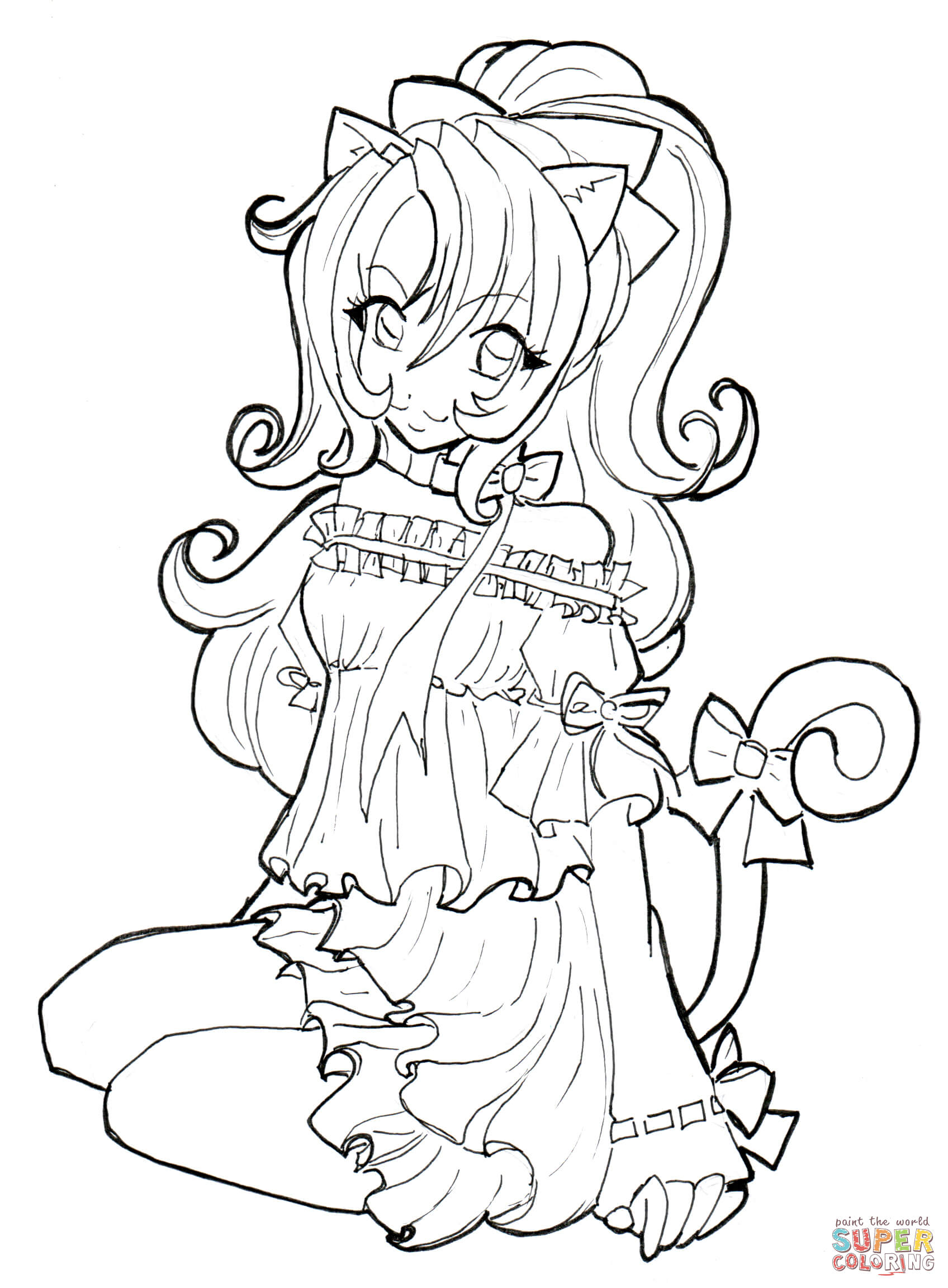Girl Color Pages Cat Girl Coloring Page Free Printable Coloring Pages