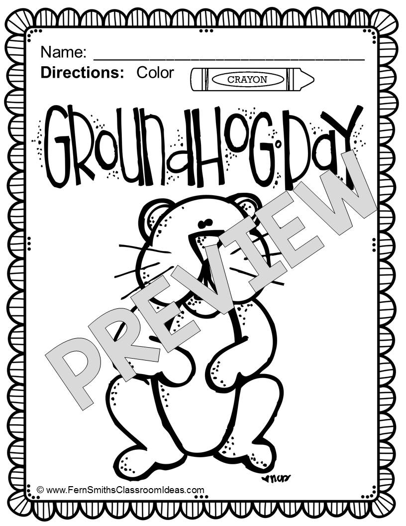 Groundhog Day Printable Coloring Pages Ferns Freebie Friday Free Groundhog Day Fun One Color For Fun