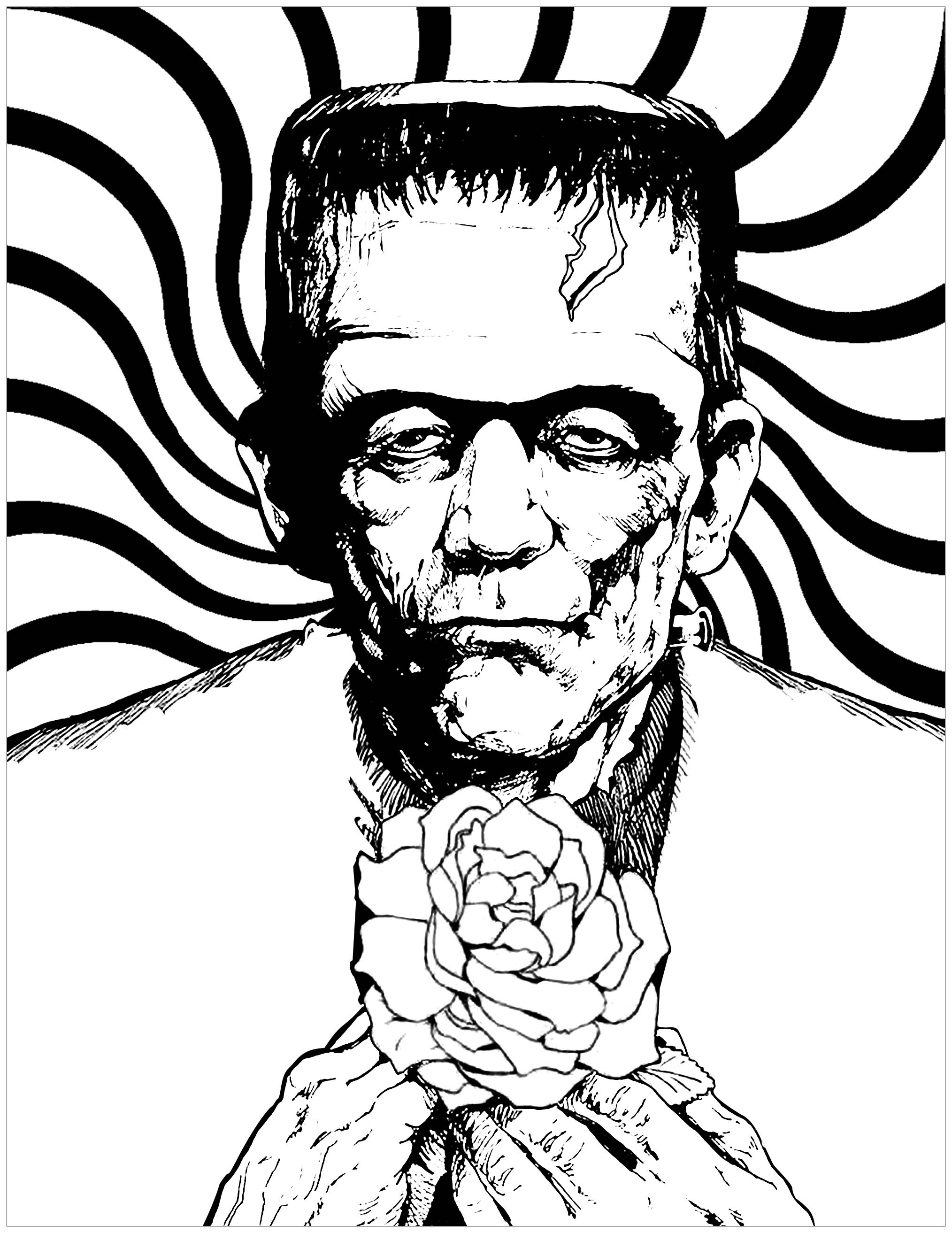 Halloween Frankenstein Coloring Pages Frankenstein And Rose Halloween Adult Coloring Pages