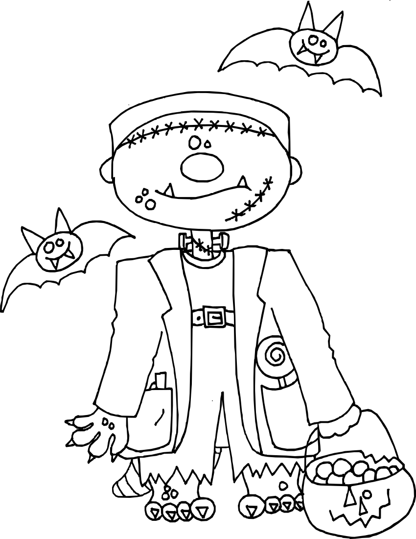 Halloween Frankenstein Coloring Pages Frankenstein Happy Coloring Page Holidayhalloweenfrankenstein