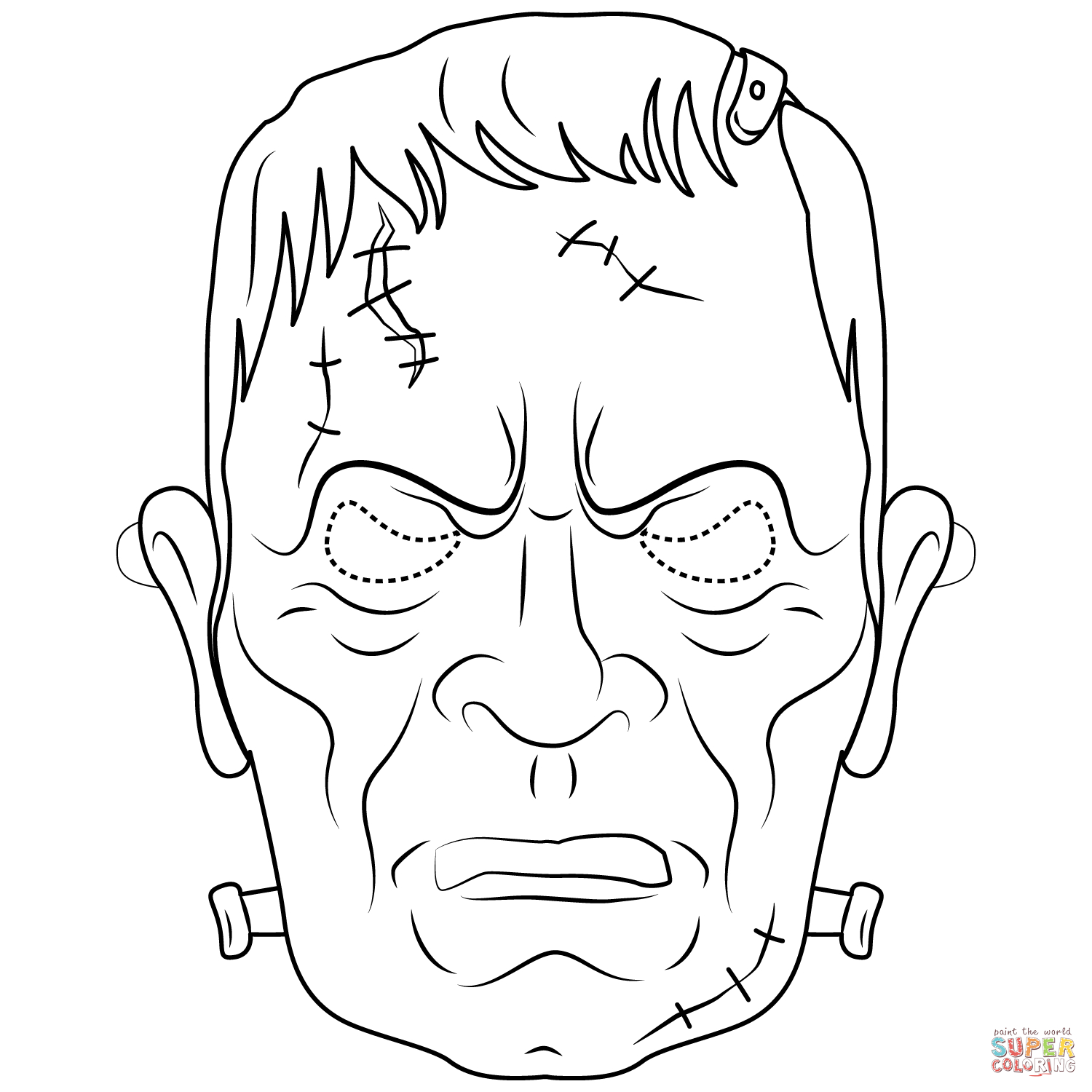 Halloween Frankenstein Coloring Pages Frankenstein Mask Coloring Page Free Printable Coloring Pages