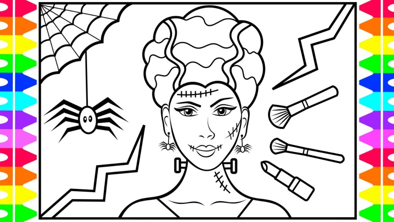 Halloween Frankenstein Coloring Pages How To Draw Halloween Makeup Bride Of Frankenstein Halloween Drawing And Coloring Pages