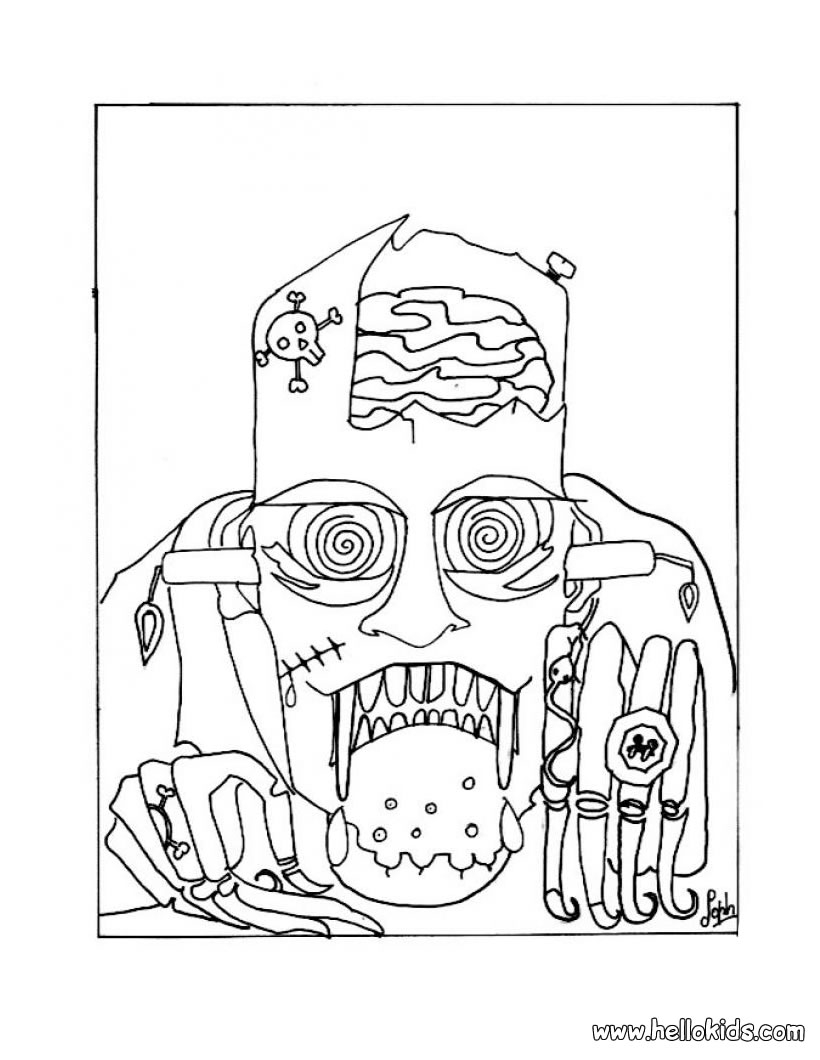 Halloween Frankenstein Coloring Pages Scary Frankenstein Coloring Pages Hellokids