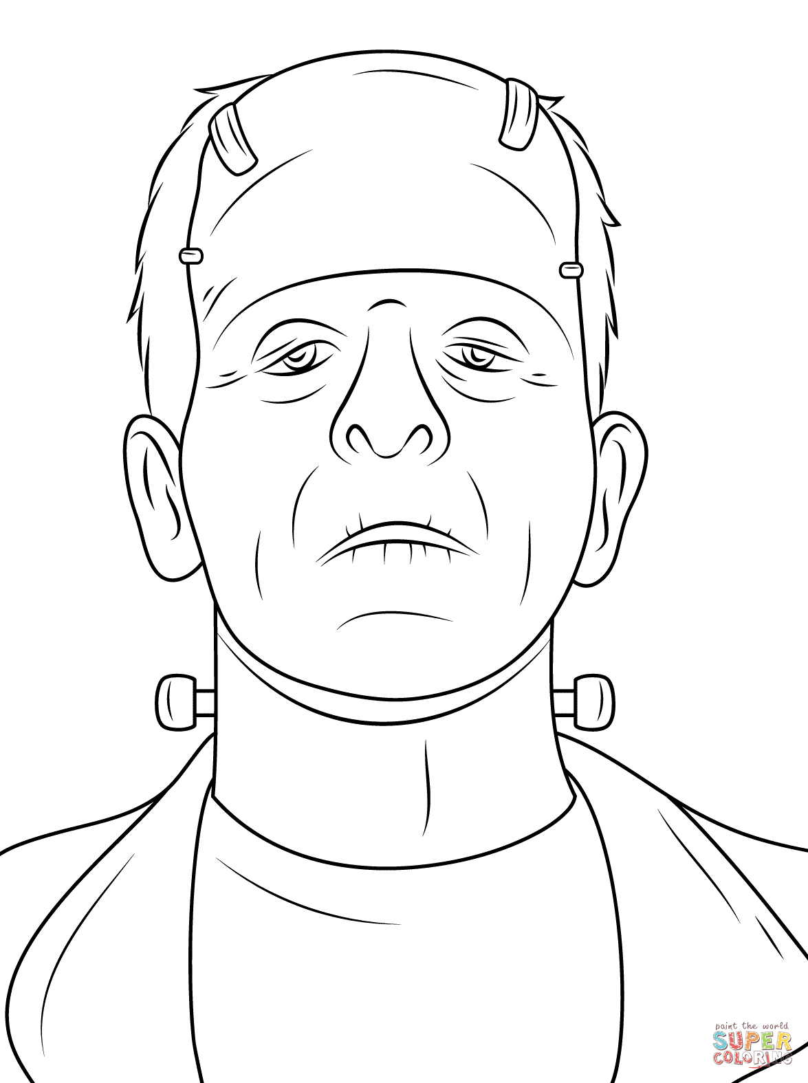 Halloween Frankenstein Coloring Pages Scary Frankenstein Head Coloring Page Free Printable Coloring Pages