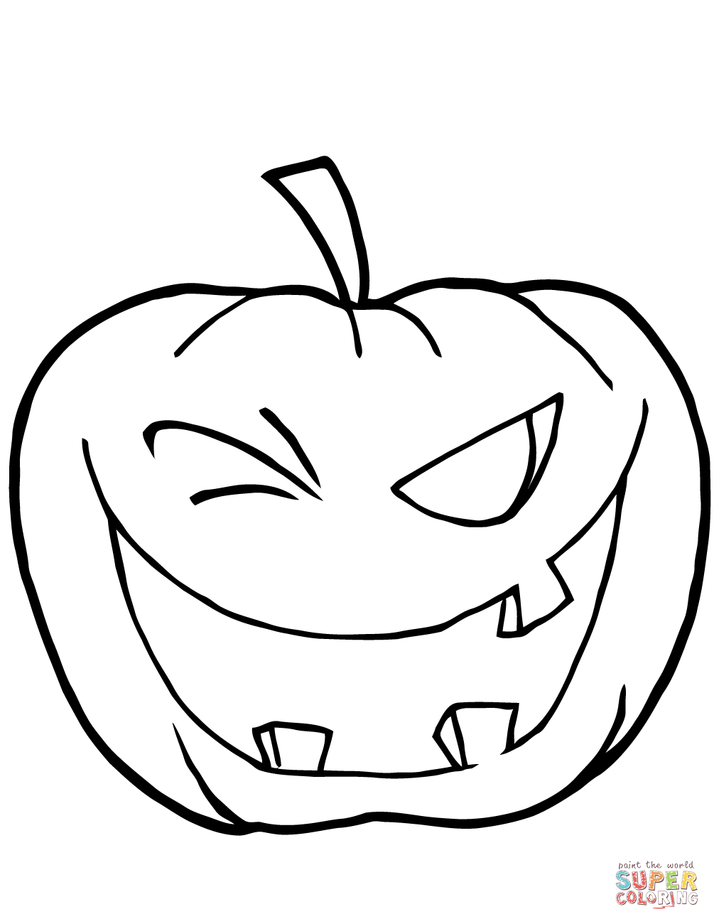 Halloween Pumpkin Coloring Pages Printables Halloween Pumpkin Winking Coloring Page Free Printable Coloring Pages