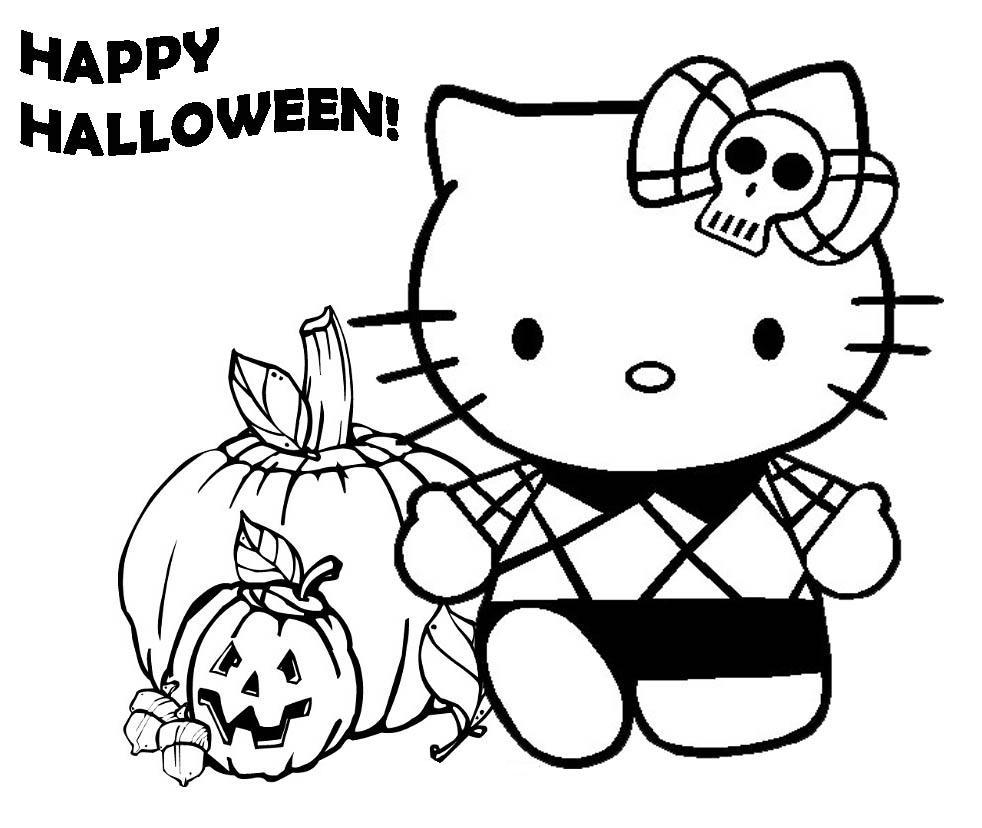 Halloween Pumpkin Coloring Pages Printables Hello Kity Halloween Pumpkin Coloring Pages For Preschool Hallowen