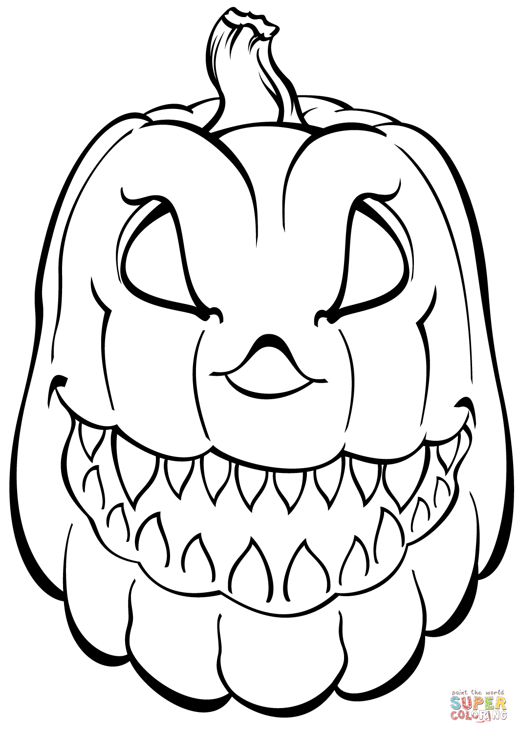 Halloween Pumpkin Coloring Pages Printables Scary Pumpkin Coloring Page Free Printable Coloring Pages