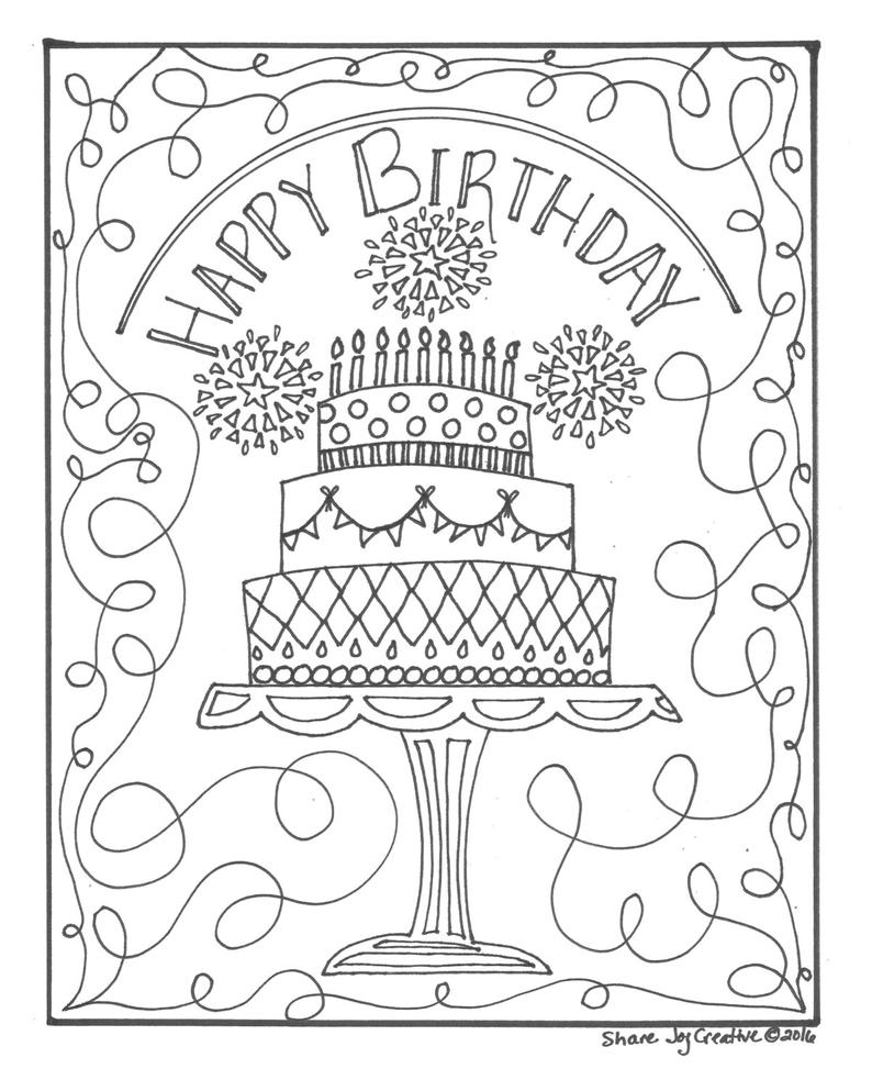 Happy Birthday Coloring Pages For Friends Happy Birthday Cake Coloring Page