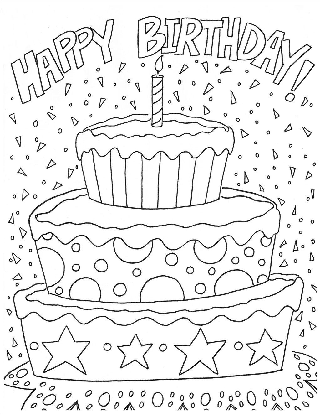 Happy Birthday Coloring Pages To Print Funny Happy Birthday Coloring Pages