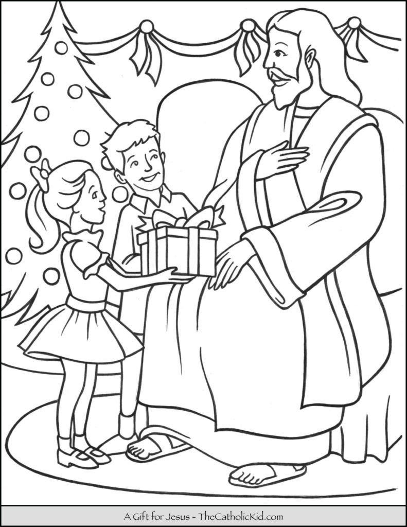 Jesus Christmas Coloring Pages Coloring Gift For Jesus Christmasing Page The Catholic Kid