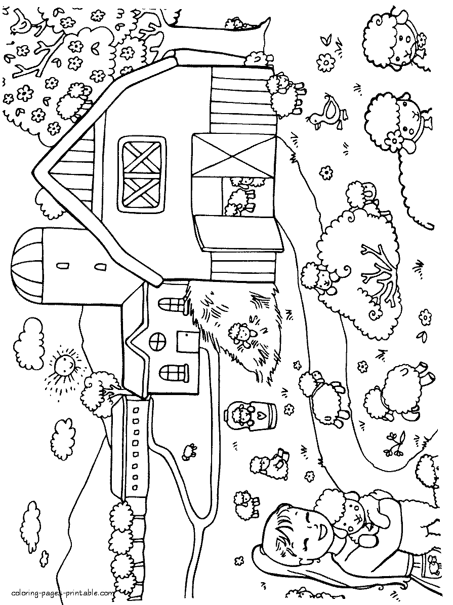 Kids Farm Coloring Pages Coloring Page Outstanding Farm Coloring Sheets With Cartoon Pages
