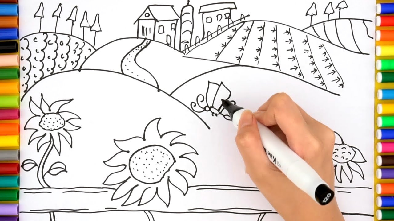 Kids Farm Coloring Pages Farm Coloring Pages How To Draw Farm House For Kids Videos For Children