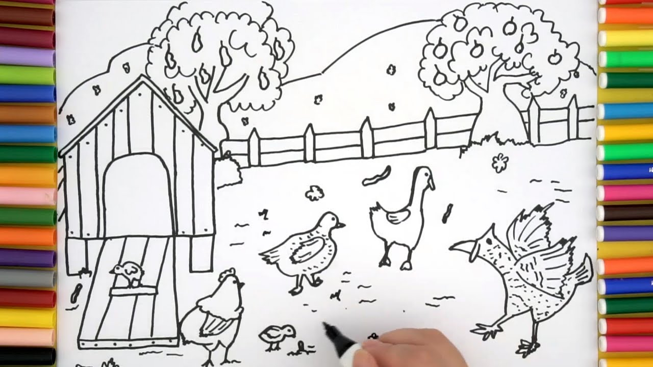 Kids Farm Coloring Pages How To Draw A Turkey Farm Coloring Pages For Kids