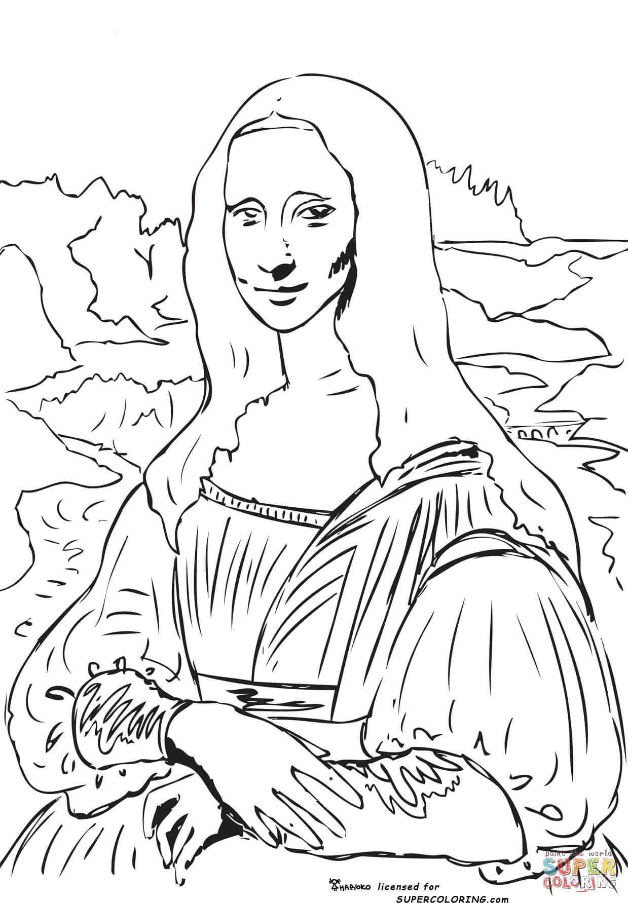 Leonardo Da Vinci The Last Supper Coloring Page Mona Lisa La Gioconda Leonardo Da Vinci Coloring Page Free