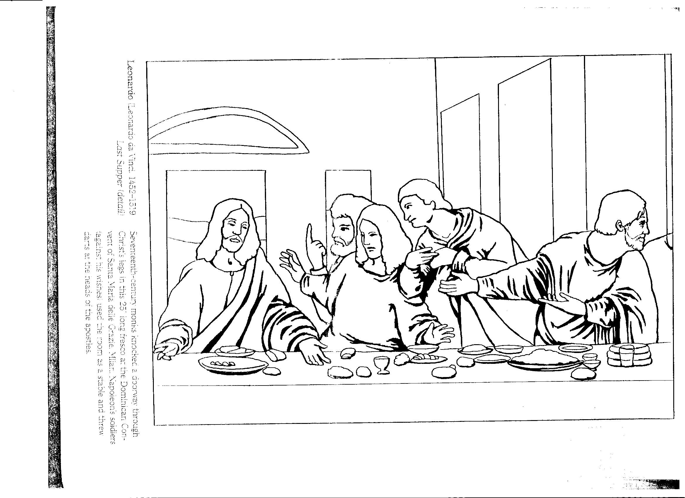 Leonardo Da Vinci The Last Supper Coloring Page Renaissance Art Coloring Pages Tingameday
