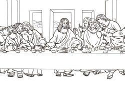 Leonardo Da Vinci The Last Supper Coloring Page The Last Supper Leonardo Da Vinci Coloring Page Free Printable