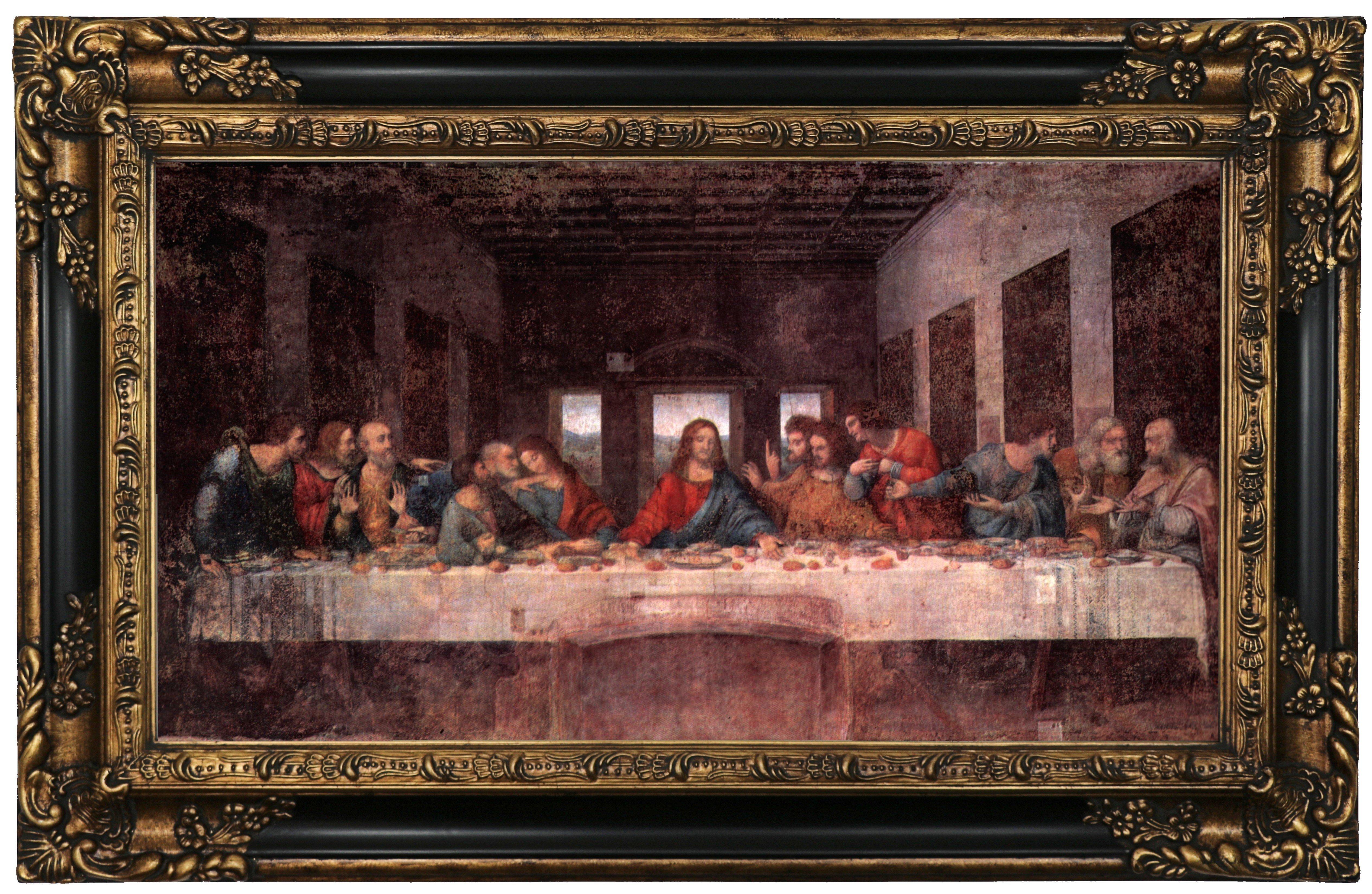 Leonardo Da Vinci The Last Supper Coloring Page The Last Supper Leonardo Da Vinci Framed Oil Painting Print On Canvas In Gold
