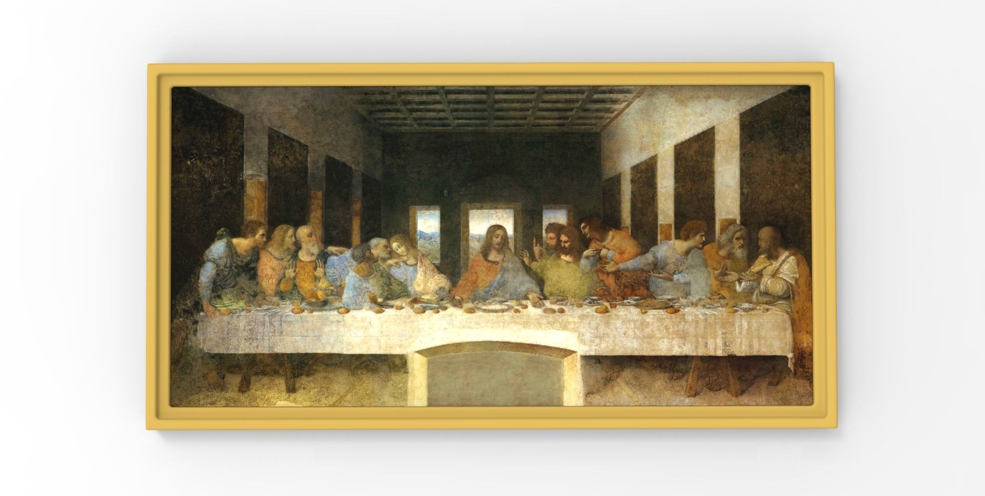 Leonardo Da Vinci The Last Supper Coloring Page The Last Supper Painting Leonardo Da Vinci For 3d Printing 3d Print Model