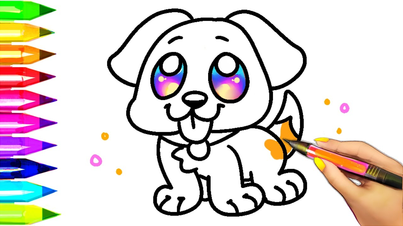 Little Puppy Coloring Pages Easy Dog Coloring Pages For Kids Learning Colors With Puppy Coloring Book