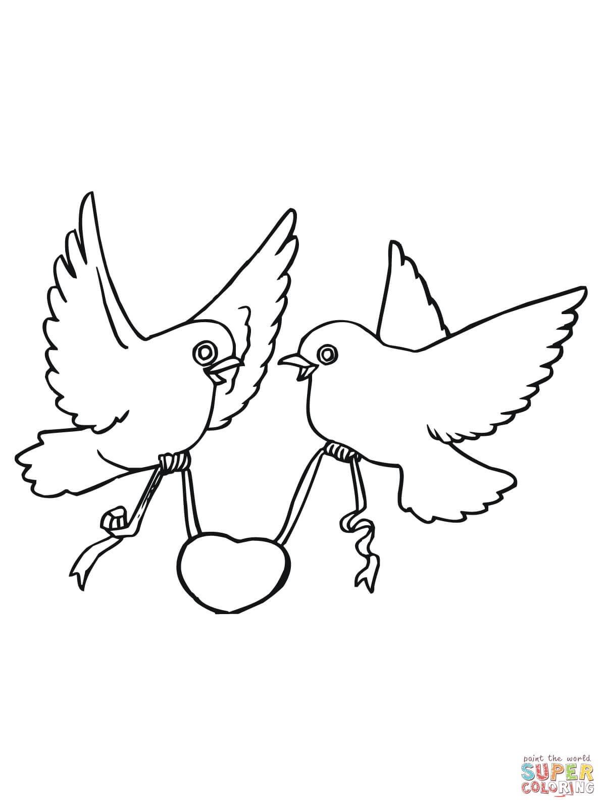 Love Bird Coloring Pages Love Birds With Hearts Coloring Page Free Printable Coloring Pages