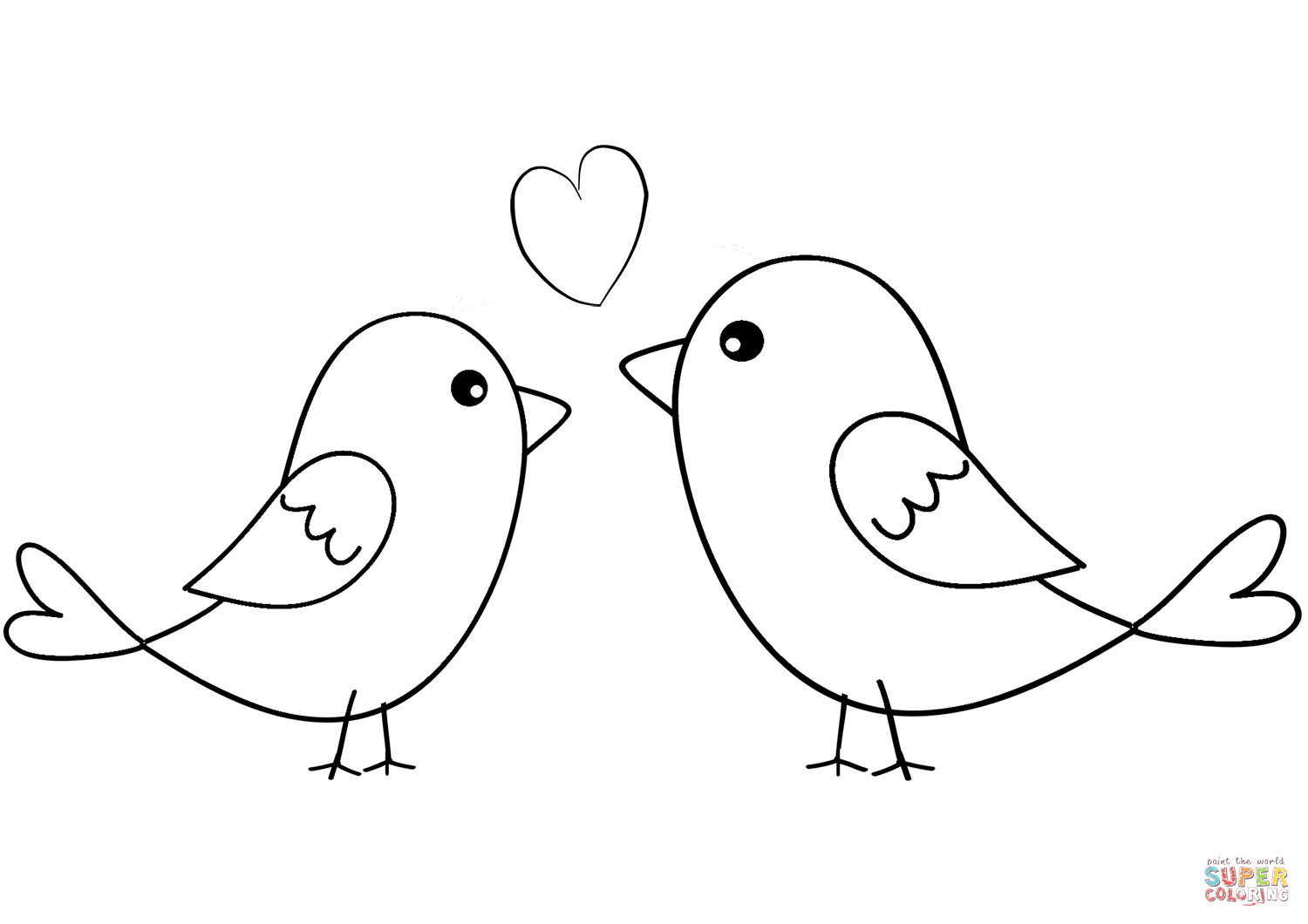Love Bird Coloring Pages Two Birds In Love Coloring Page Free Printable Coloring Pages