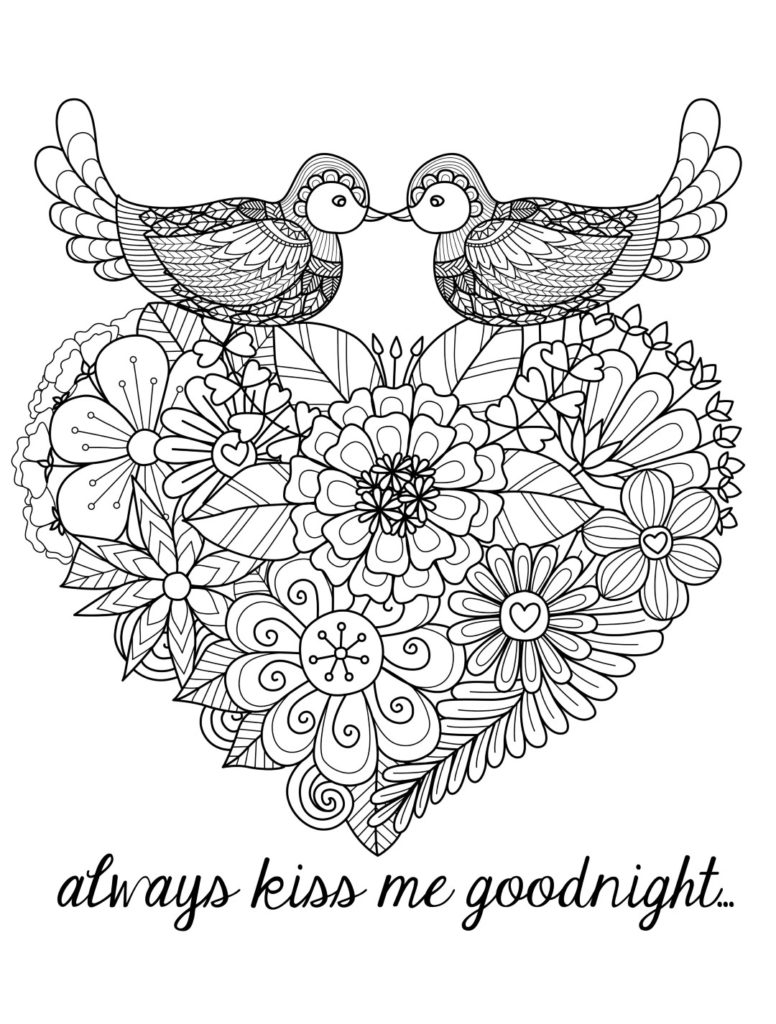 Love Bird Coloring Pages Valentines Day Coloring Pages For Adults Coloringrocks