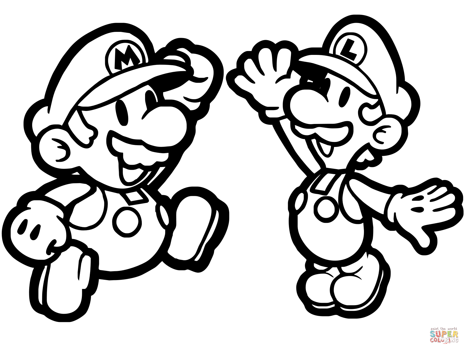 Mario Coloring Pages To Print Paper Mario And Luigi Coloring Page Free Printable Coloring Pages