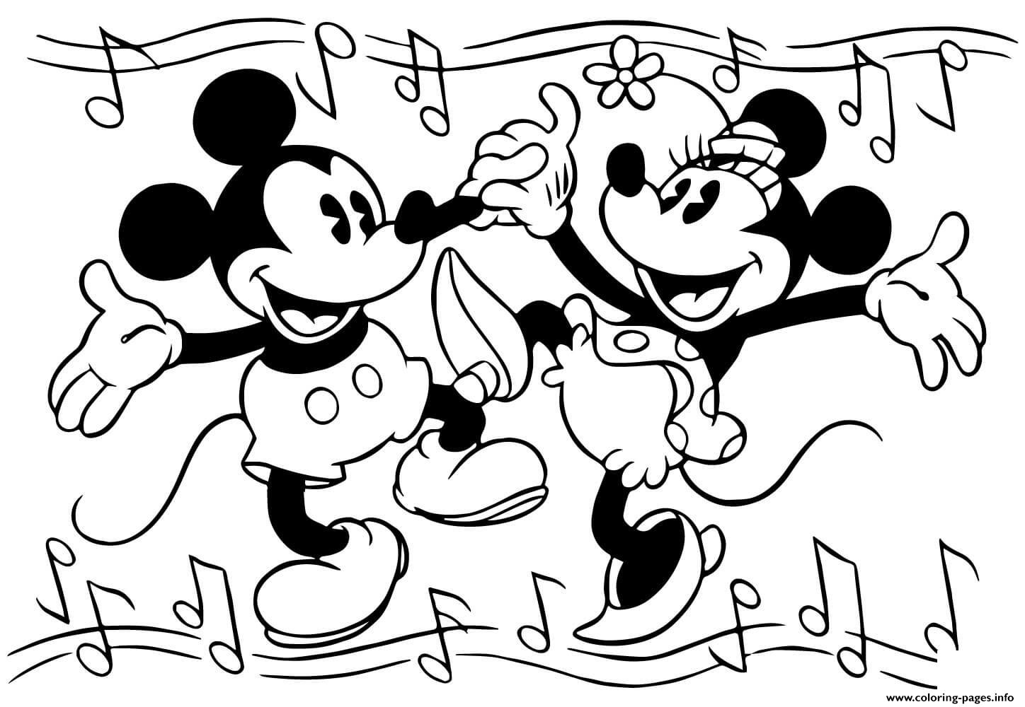 Mickey And Minnie Coloring Pages To Print Minnie And Mickey Mouse Are Dancing Disney Coloring Pages Printable