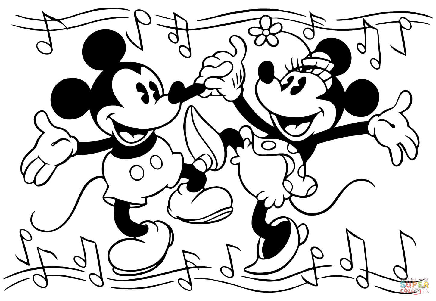 Mickey Mouse And Minnie Coloring Pages Minnie And Mickey Mouse Are Dancing Coloring Page Free Printable