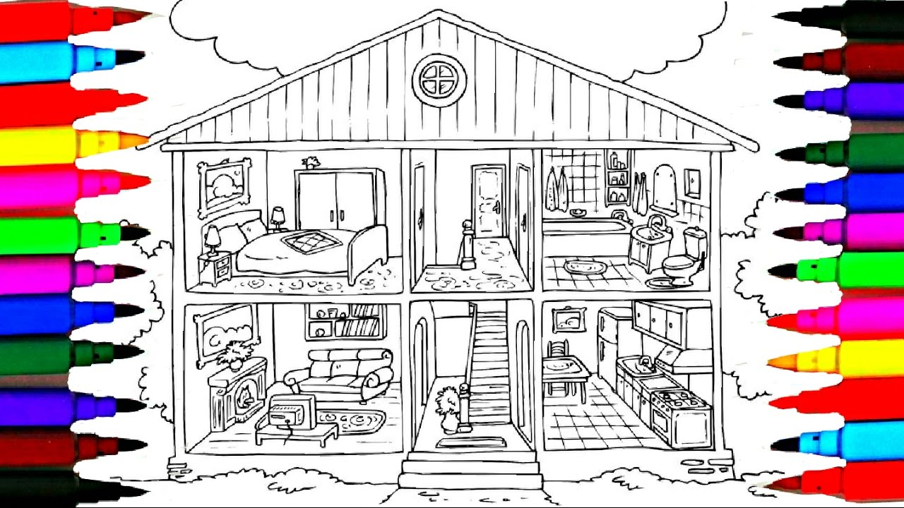 My Room Coloring Pages Coloring Pages Bathroom L Bedroom L Dining Room L Washroom Drawing Pages To Color For Kids