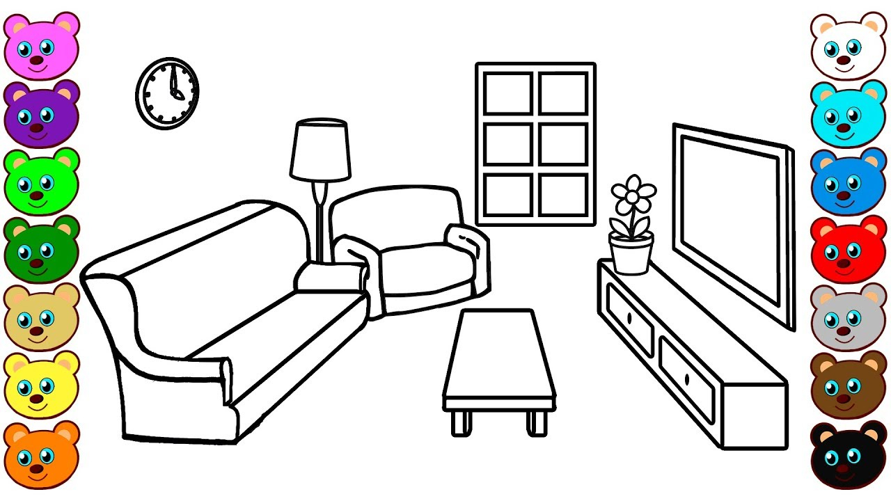 My Room Coloring Pages Living Room Coloring Pages For Children