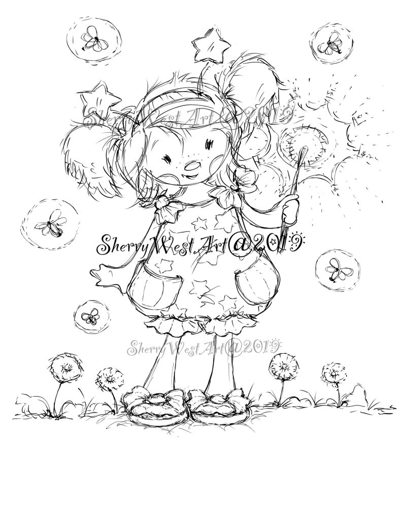 My Room Coloring Pages You Make My Heart Sparkle Adorable Girl Fireworks July 4 Independence Kids Room Wall Decor Digital Stamp Digi Coloring Page Clip Art