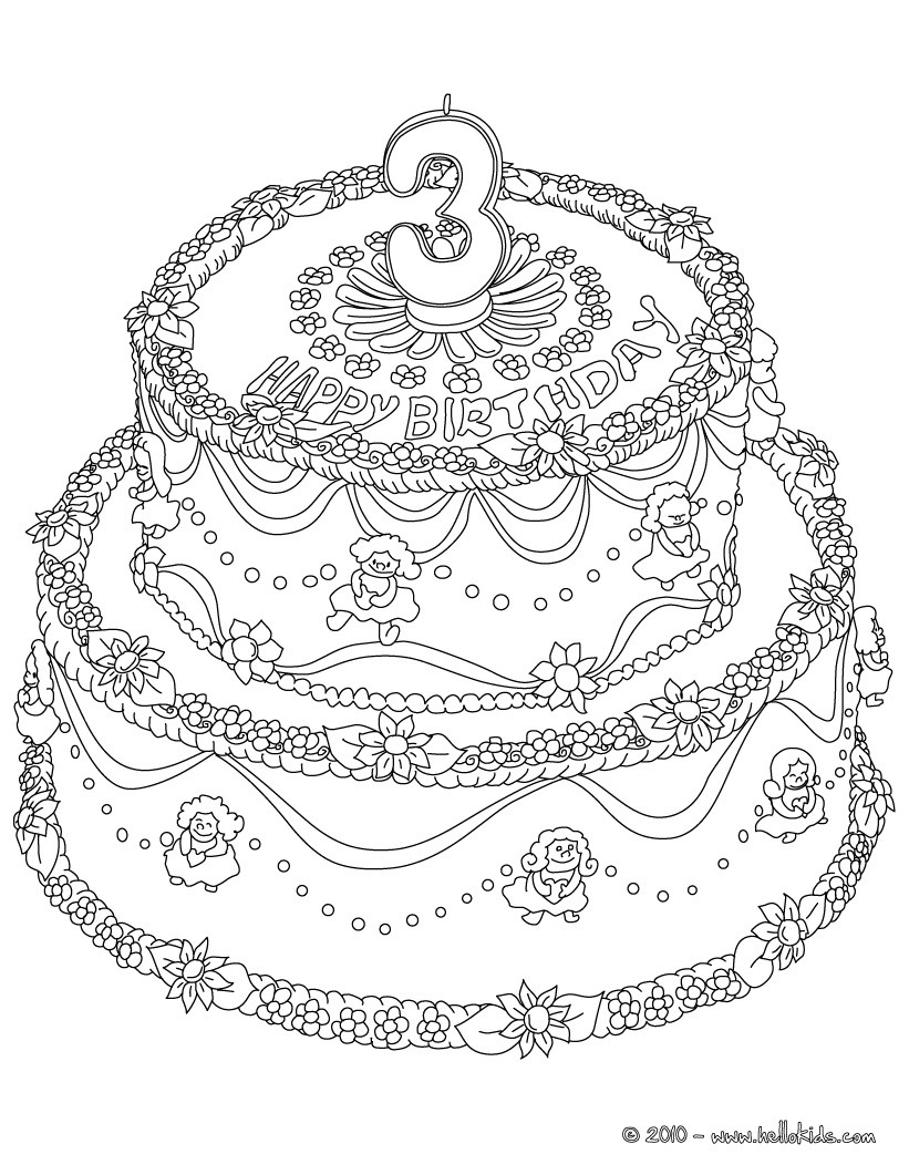 Number 6 Coloring Page Birthday Cake 6 Years Coloring Pages Hellokids