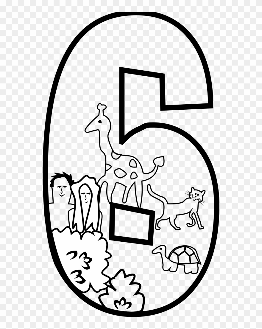 Number 6 Coloring Page Bonanza Number 6 Coloring Page Clipart Creation Day Day 6 Of