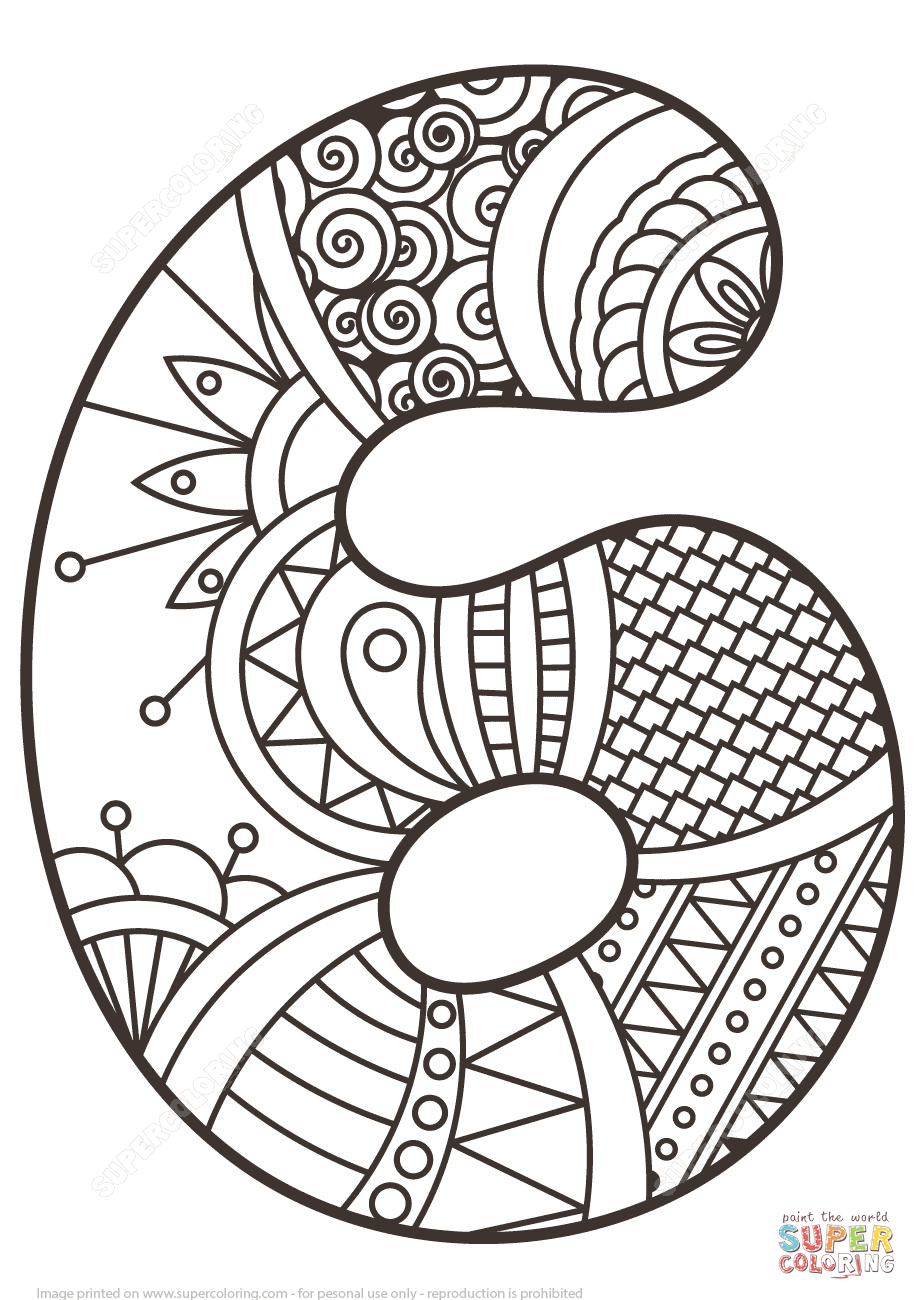 Number 6 Coloring Page Number 6 Zentangle Coloring Page Free Printable Coloring Pages