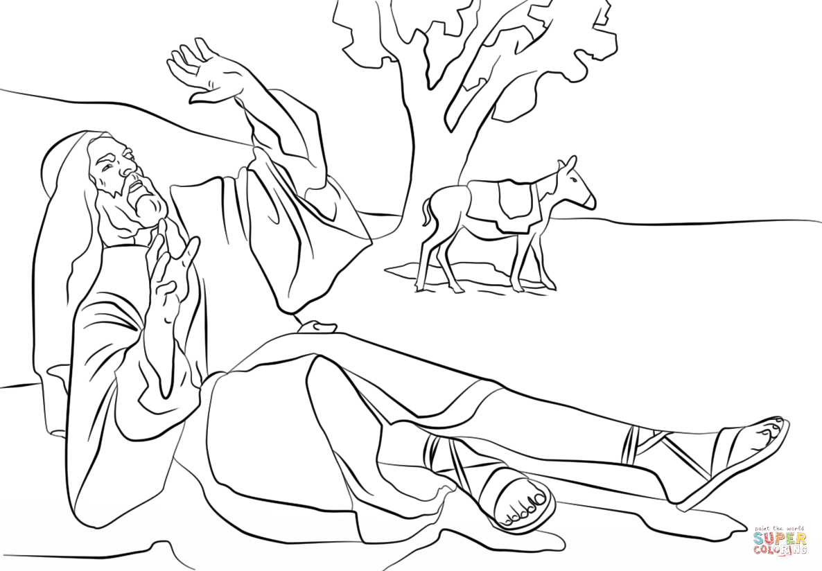 Paul Coloring Pages Paul Blinded On The Road To Damascus Coloring Page Free Printable