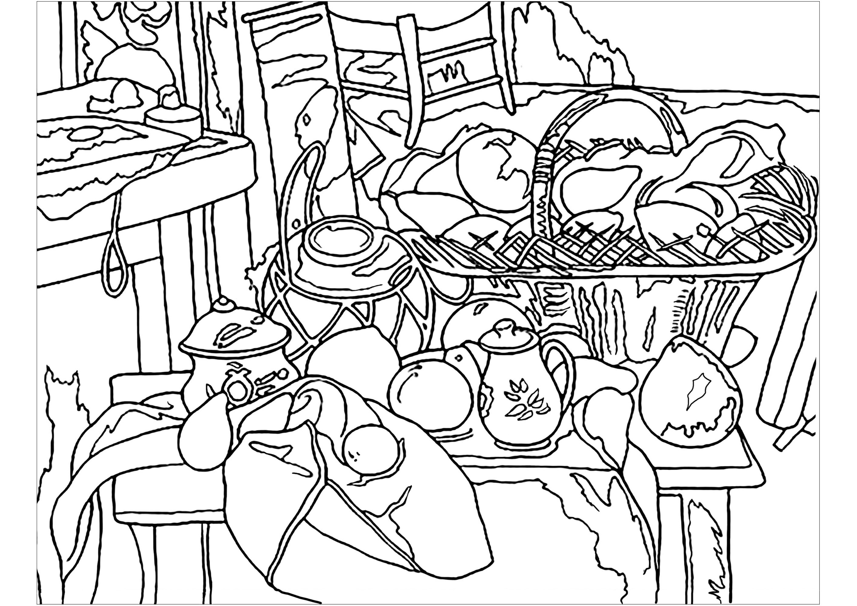 Paul Coloring Pages Paul Czanne Kitchen Table Still Life Masterpieces Adult