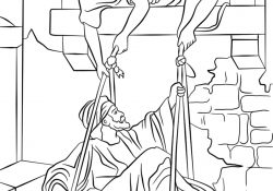 Paul Coloring Pages Paul Escapes In A Basket Coloring Page Free Printable Coloring Pages