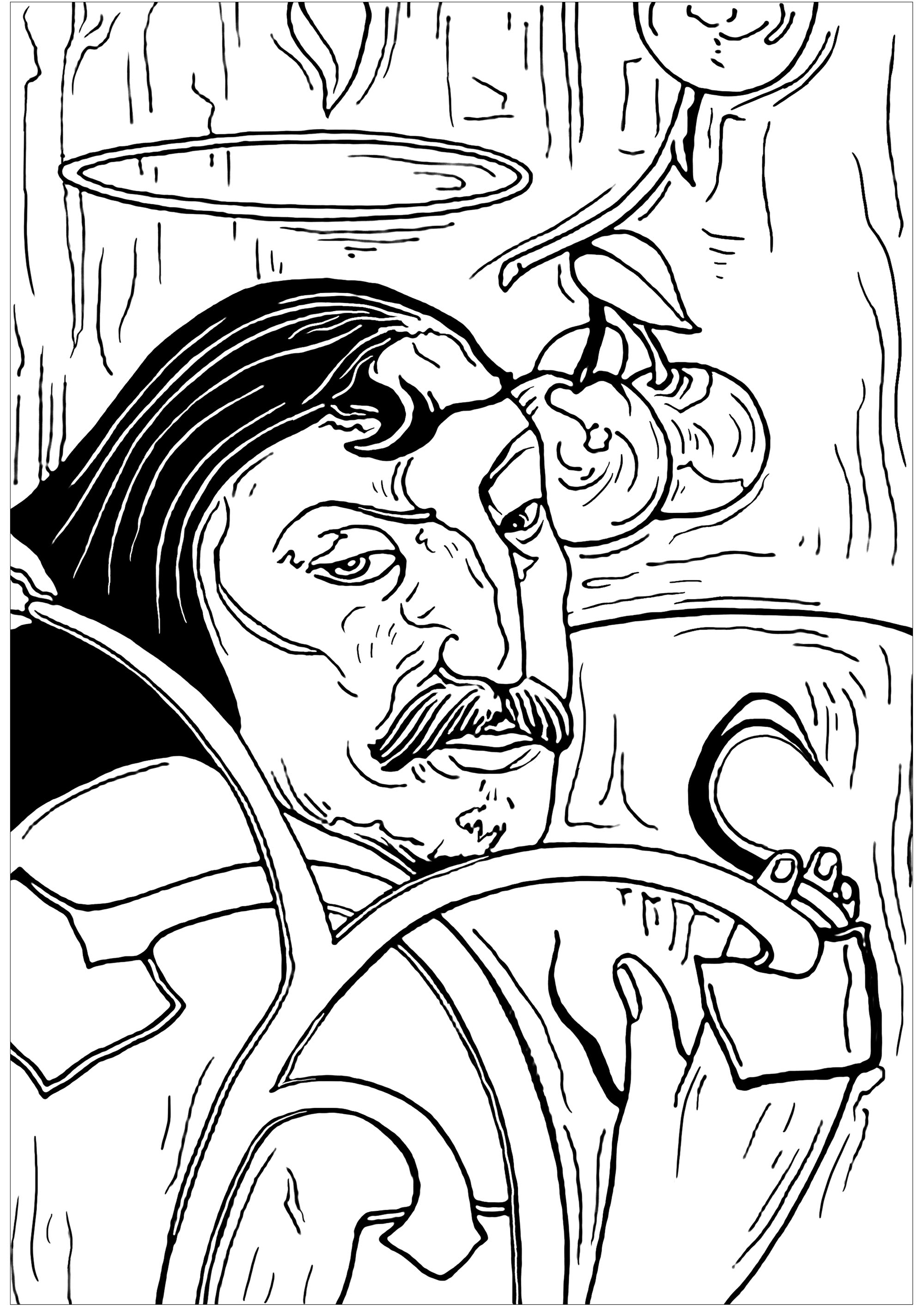 Paul Coloring Pages Paul Gauguin Self Portrait With Halo Masterpieces Adult Coloring