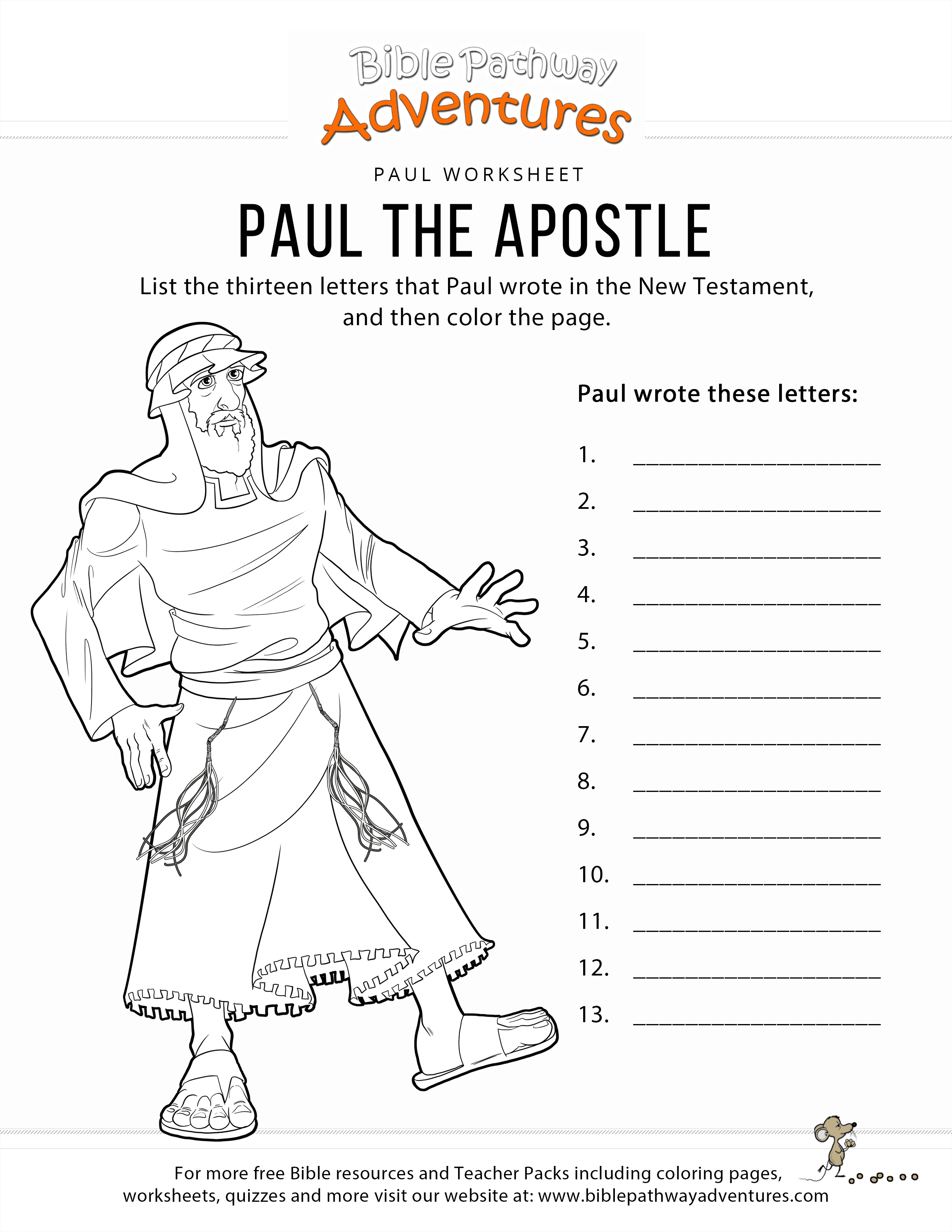 Paul Coloring Pages Paul The Apostle Worksheet Coloring Page Bible Pathway Adventures
