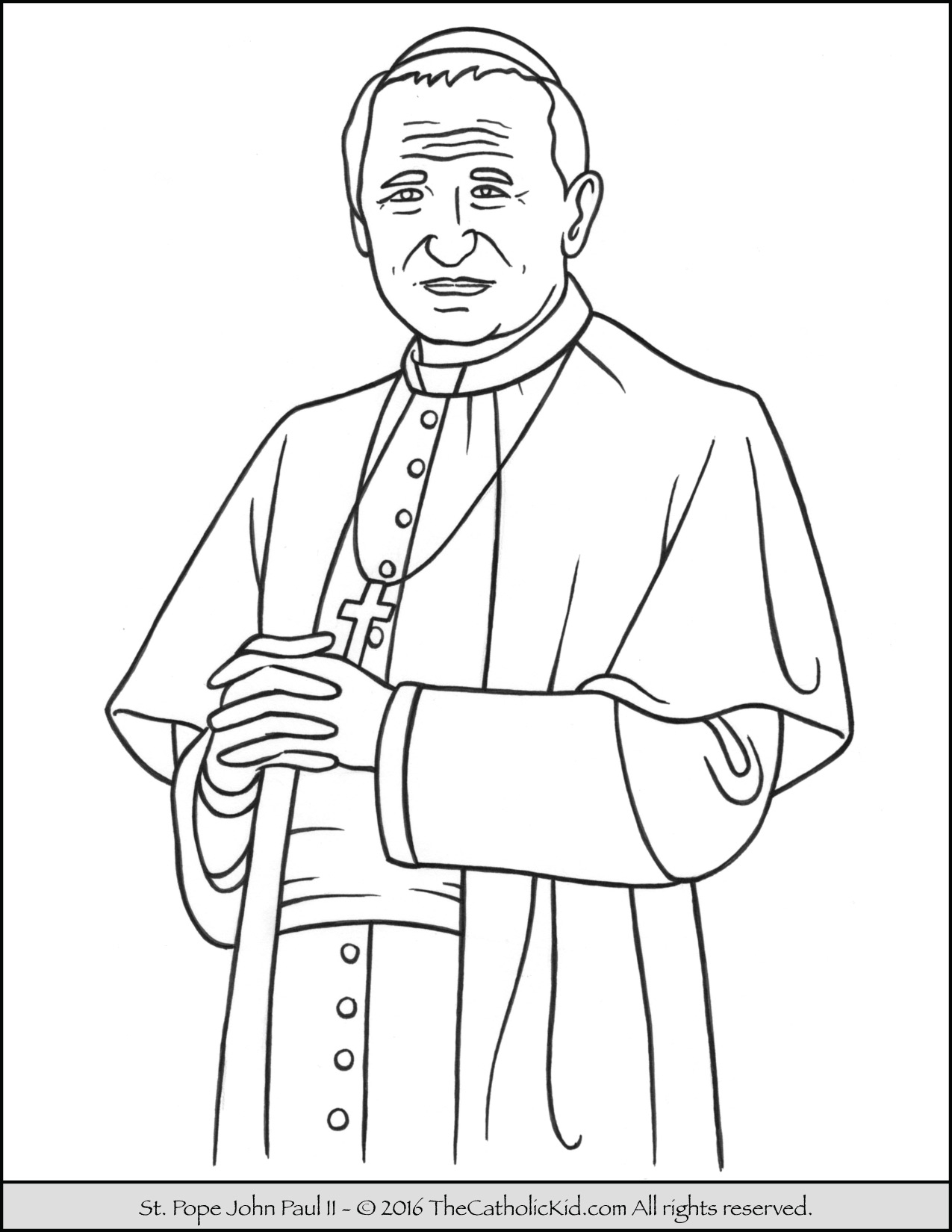 Paul Coloring Pages Saint Pope John Paul Ii Coloring Page Thecatholickid