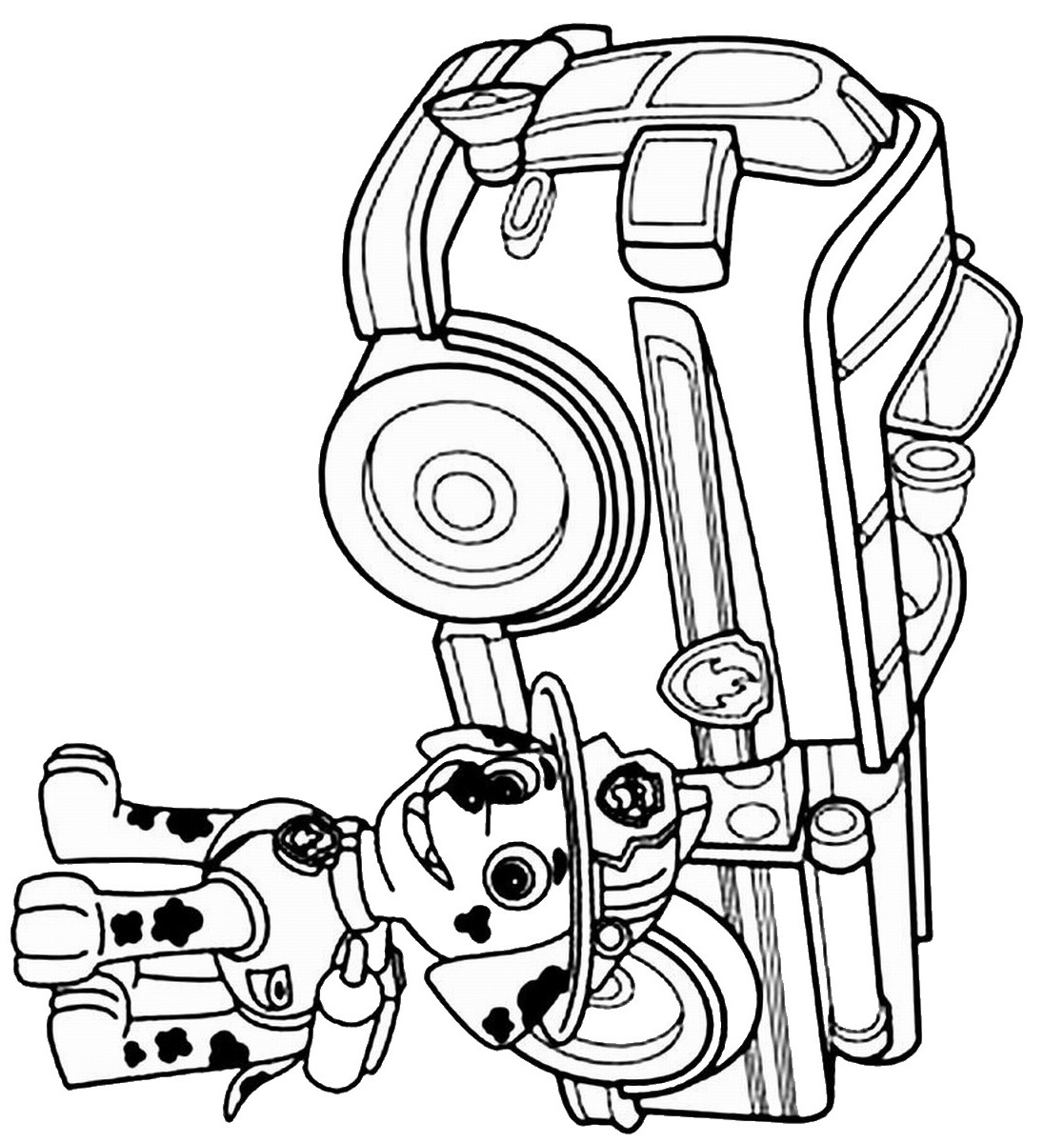 Paw Patrol Coloring Pages Marshall Marshall Puppy With His Firetruck Paw Patrol Coloring Pages