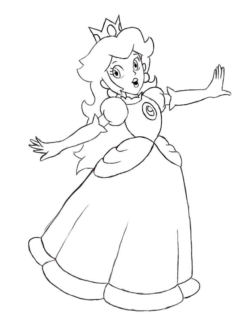 Peach From Mario Coloring Pages Coloring Pages For Kids Princess Peach With Princess Peach Coloring