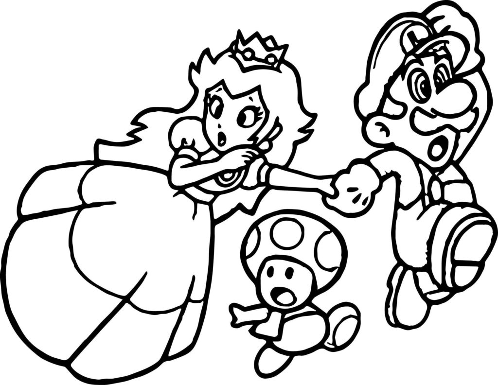 Peach From Mario Coloring Pages Coloring Super Mario Coloring Princess Mushroom Page Sheet With