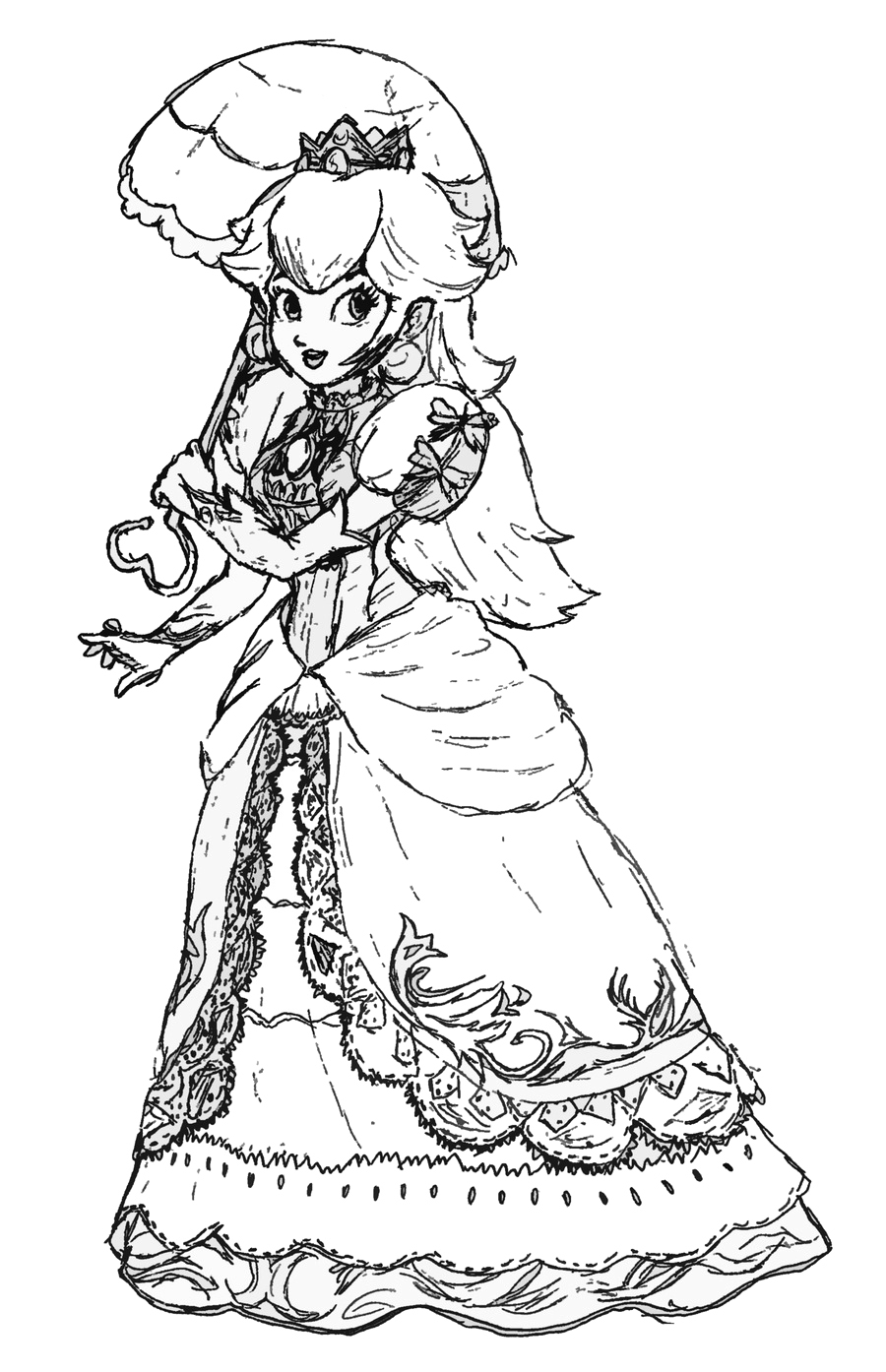 Peach From Mario Coloring Pages Free Princess Peach Coloring Pages For Kids